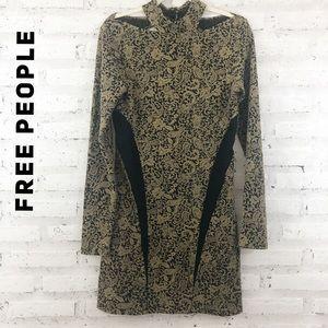 Free People Night Play Ginger Jacquard Dress